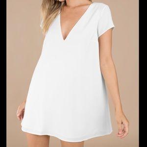 Tobi Swoop In Ivy Dress Large Flowy White Shift